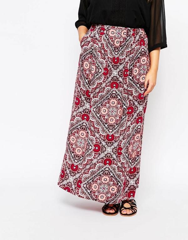 длинная юбка с принтом для полных 2015