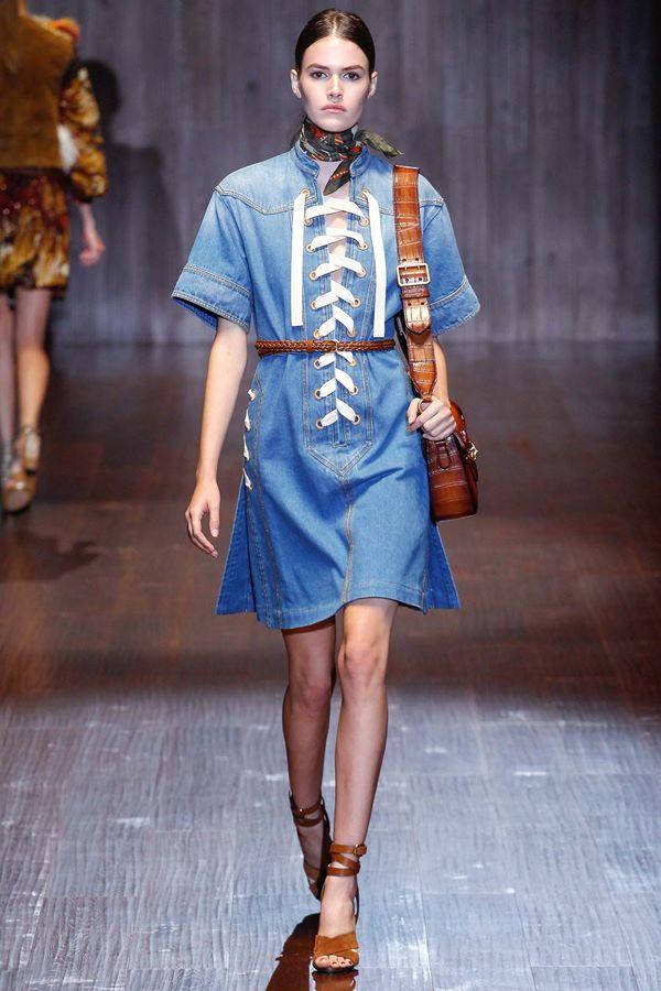 Синие платья весна-лето 2015 Gucci