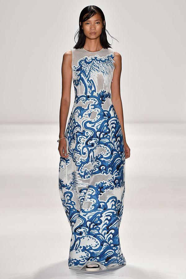 Голубые платья весна-лето 2015 Vivienne Tam