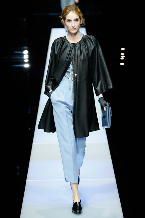 Кожаные пальто и плащи осень-зима 2015-2016: Giorgio Armani