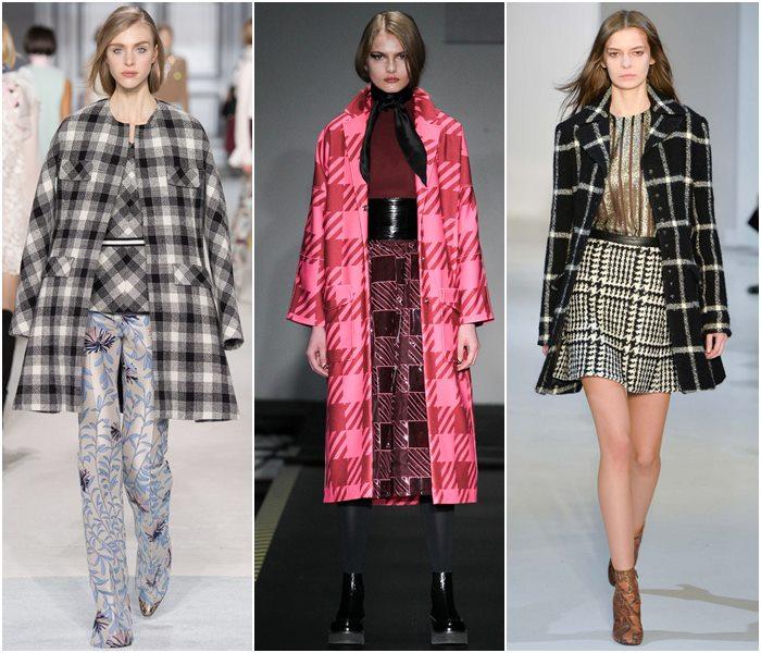 Клетчатые пальто осень-зима 2015-2016-2