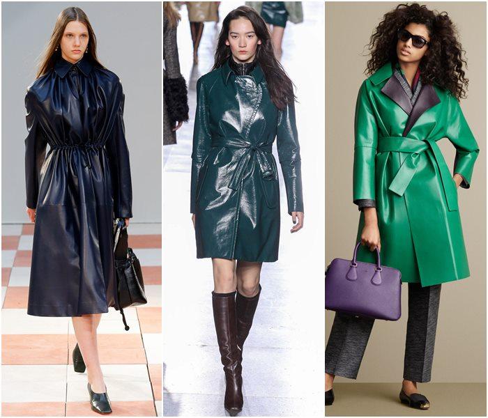 Кожаные пальто осень-зима 2015-2016