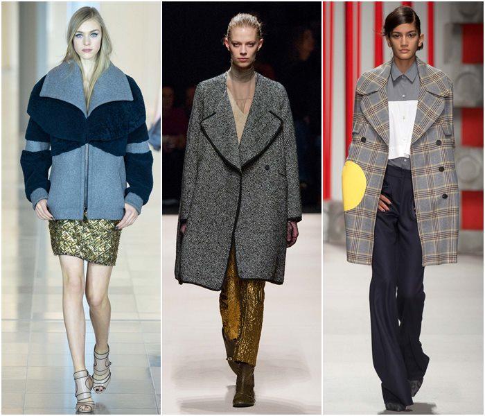 Пальто с крупными лацканами осень-зима 2015-2016