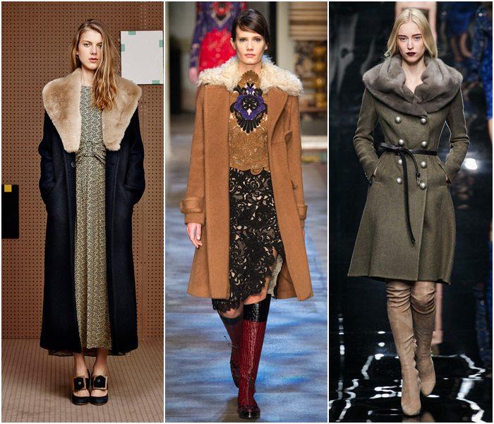 Пальто с меховым воротником осень-зима 2015-2016-1