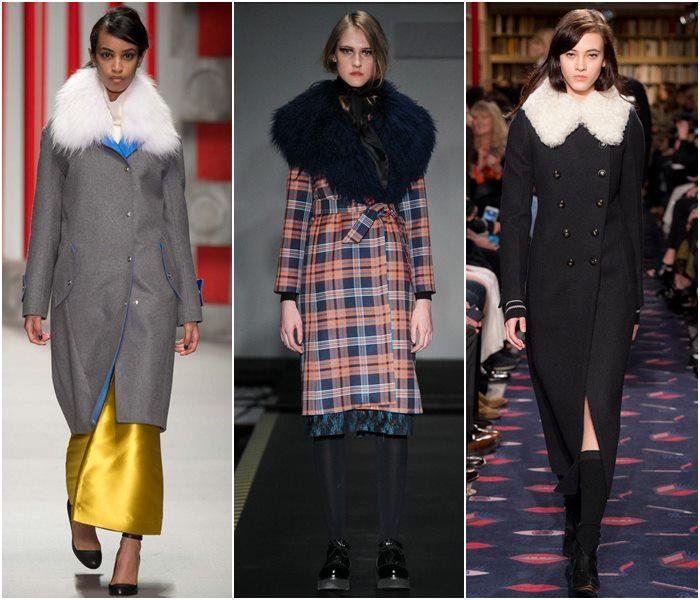 Пальто с меховым воротником осень-зима 2015-2016-2