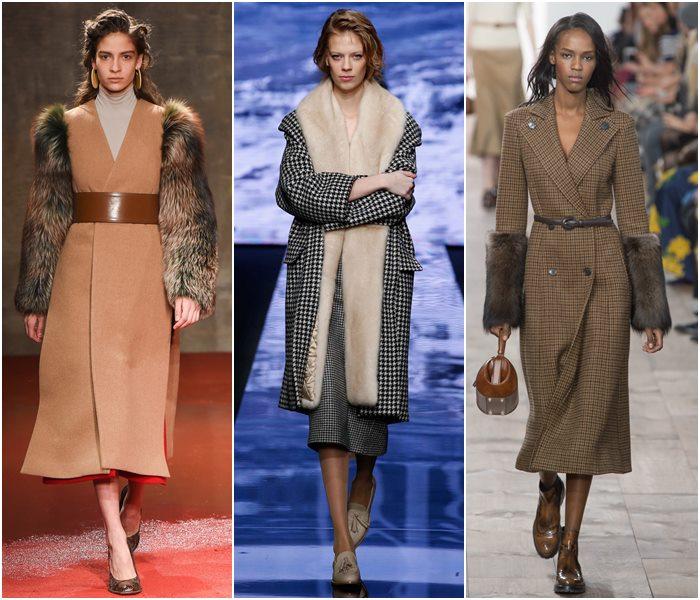 Пальто с меховыми деталями осень-зима 2015-2016-2