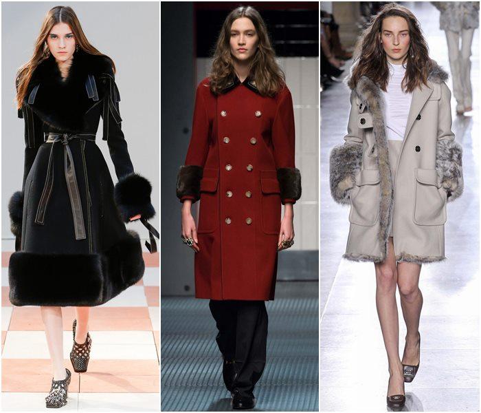 Пальто с меховыми деталями осень-зима 2015-2016