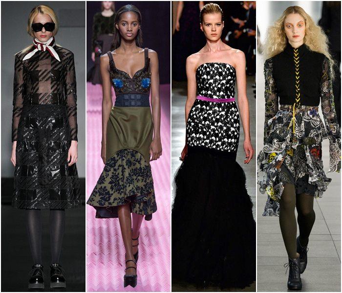 Платья из комбинированных материалов осень-зима 2015-2016