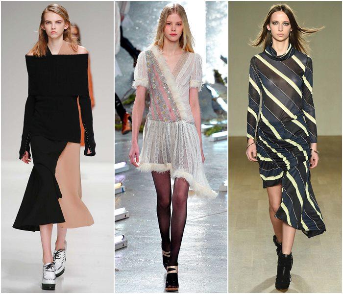 Платья с асимметричной юбкой осень-зима 2015-2016
