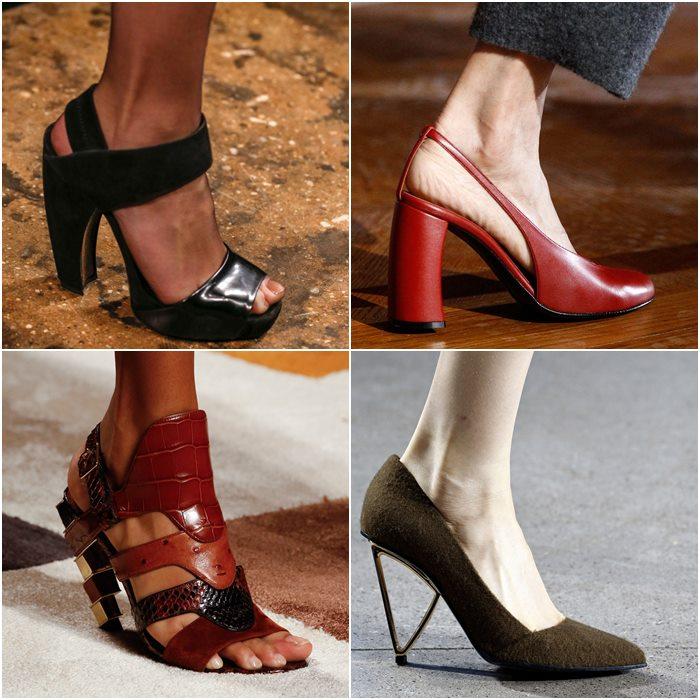 Туфли на опасном изогнутом каблуке осень-зима 2015-2016