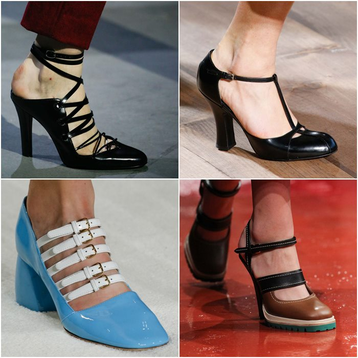Туфли с ремешками и тонкими перемычками осень-зима 2015-2016