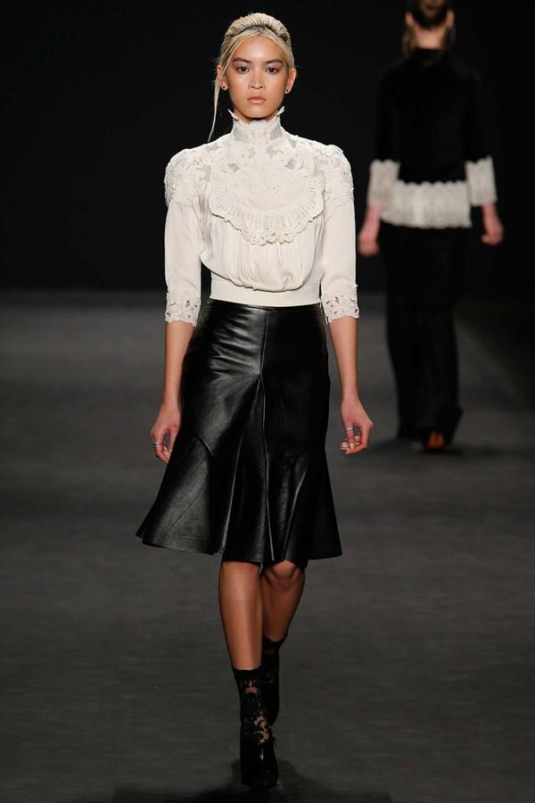 Кожаные юбки осень-зима 2015-2016: Vivienne Tam