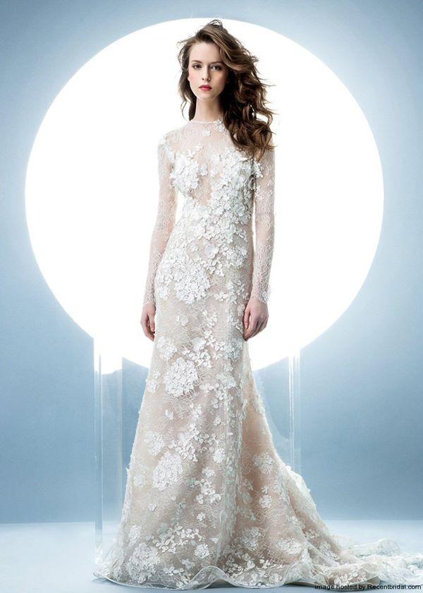Свадебные платья с вышивкой и аппликациями 2015-2016 Angel Sanchez