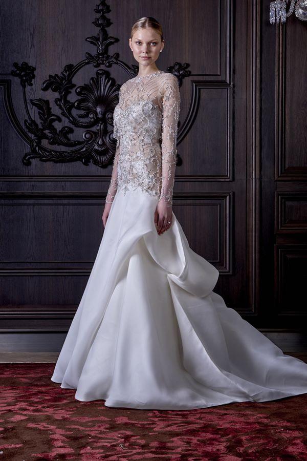 Свадебные платья с кристаллами и бусинами 2015-2016 Monique Lhuillier