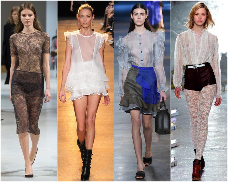 Мода осень-зима 2015-2016: прозрачные платья, юбки и блузки