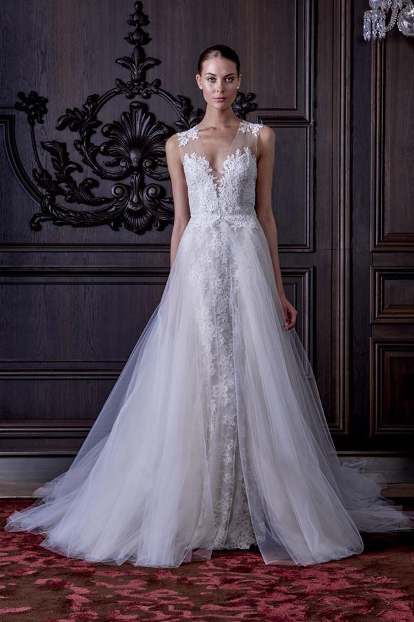 Свадебные платья с тюлевой юбкой 2015-2016 Monique Lhuillier
