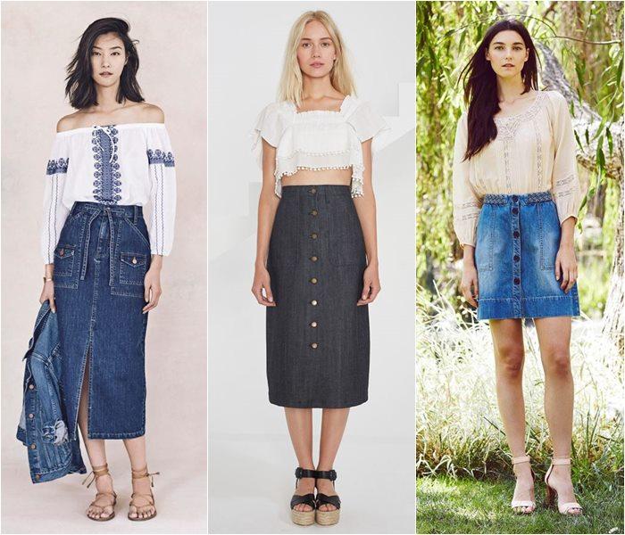 Джинсовые юбки весна-лето 2016
