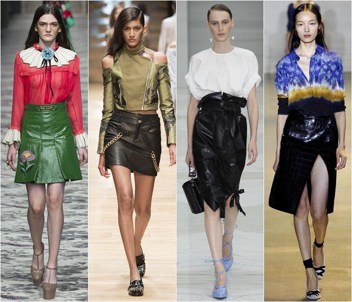 Кожаные юбки с подиумов