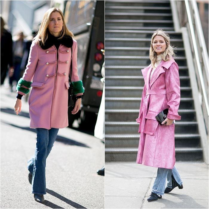 джинсы с пальто в уличном стиле