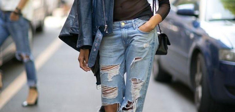 Рваные джинсы в уличном стиле Недели Моды в Нью-Йорке осень-зима 2016-2017