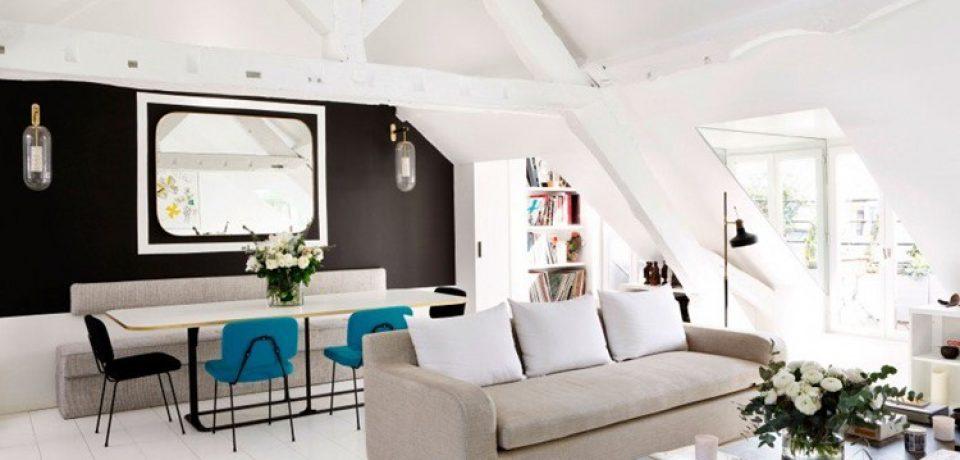 Парижская квартира в светлых тонах с яркими акцентами
