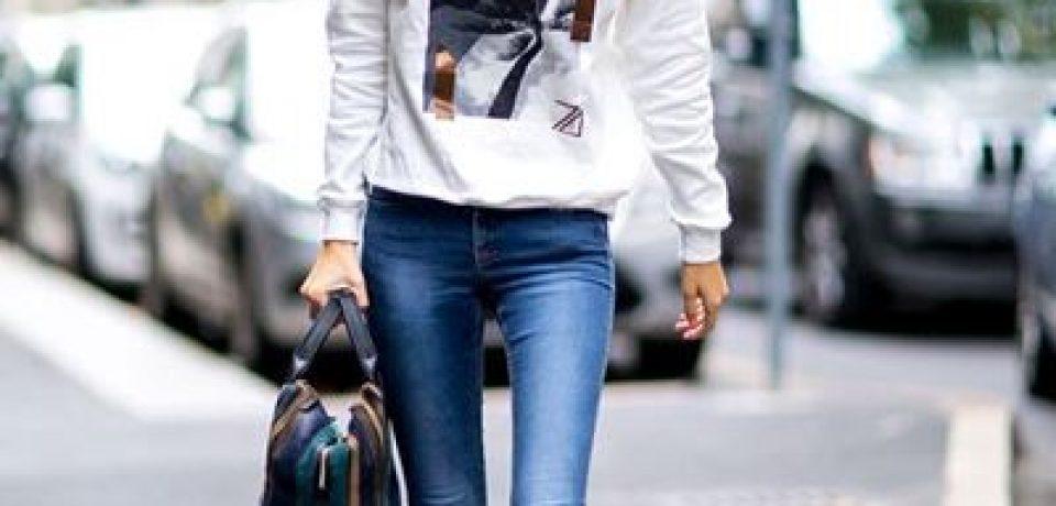 Джинсы скинни в уличном стиле Недели Моды в Нью-Йорке осень-зима 2016-2017
