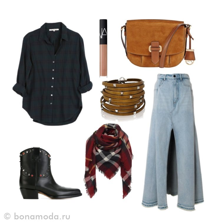 с чем носить длинную джинсовую юбку фото коллаж (10)