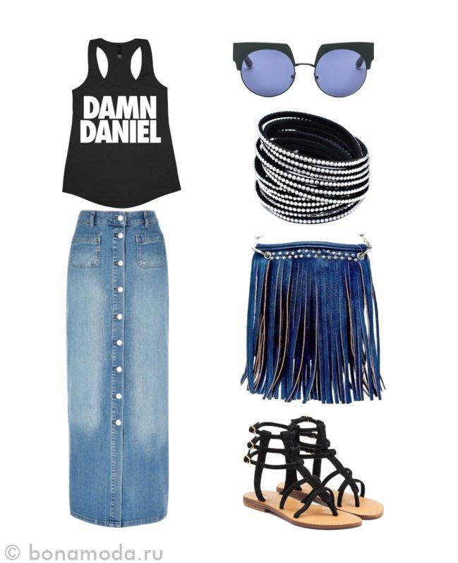 с чем носить длинную джинсовую юбку фото коллаж (5)