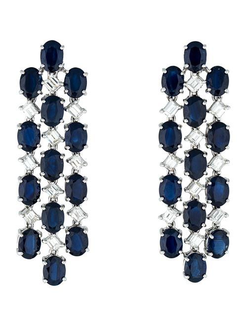 серьги люстры с синими камнями сапфирами