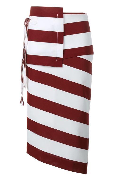 асимметричная полосатая юбка-карандаш 2016