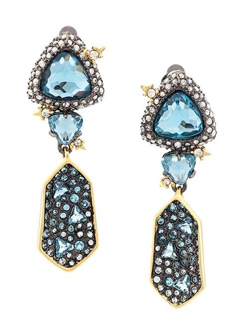 серьги-подвески 2016 синие камни