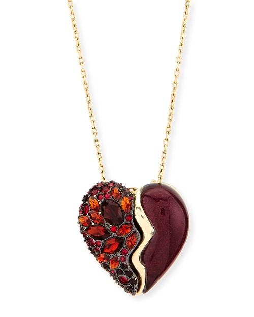 подвеска с рубином в форме сердца