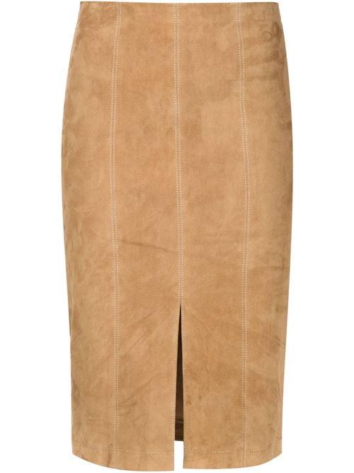 бежевая замшевая юбка-карандаш 2016