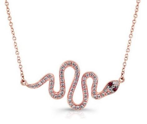 подвеска в форме змеи в бриллиантами и рубинами