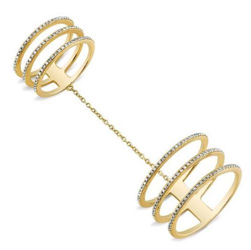 двойное многорядное кольцо из желтого золота на длинной цепочке