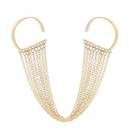 двойное кольцо из желтого золота с множеством тонких цепочек