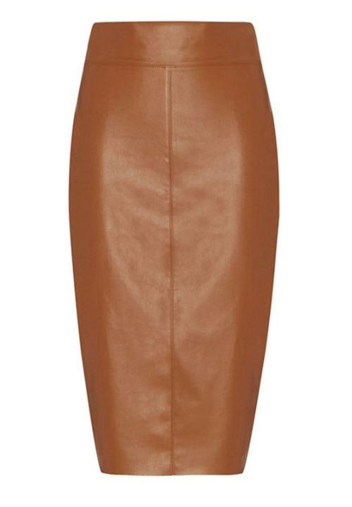 кожаная юбка-карандаш 2016