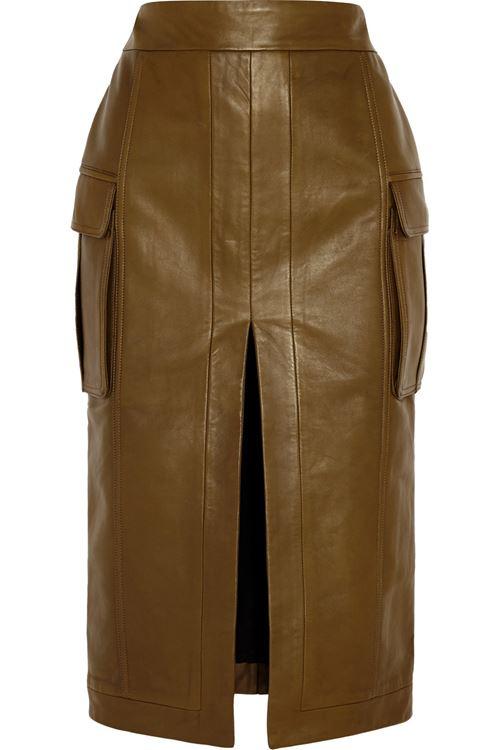 кожаная юбка хаки 2016