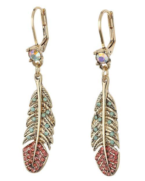 серьги-подвески 2016 перья с золотом и драгоценными камнями