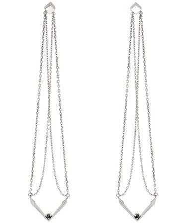 Серьги-подвески тонкие длинные цепочки