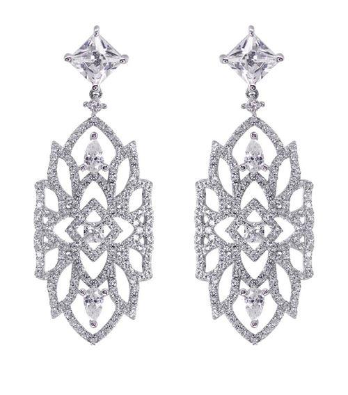 бриллиантовые серьги-люстры из белого золота