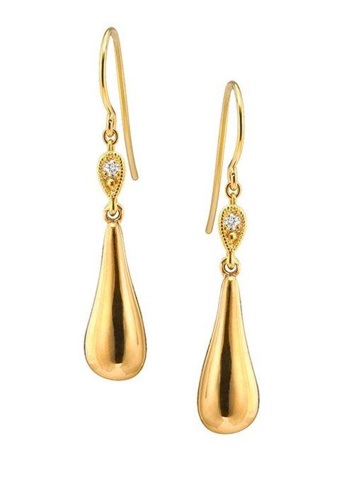 серьги-подвески капельки из желтого золота