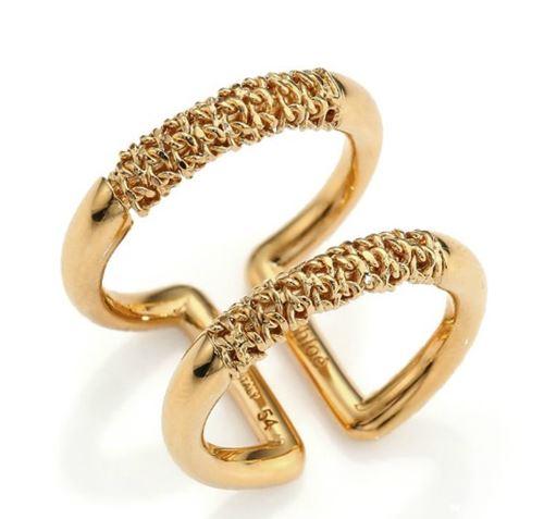 двойное кольцо с позолотой