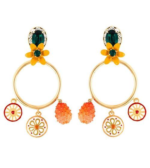 серьги подвески этнические кольца с цветами
