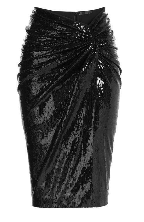 черная блестящая юбка-карандаш 2016