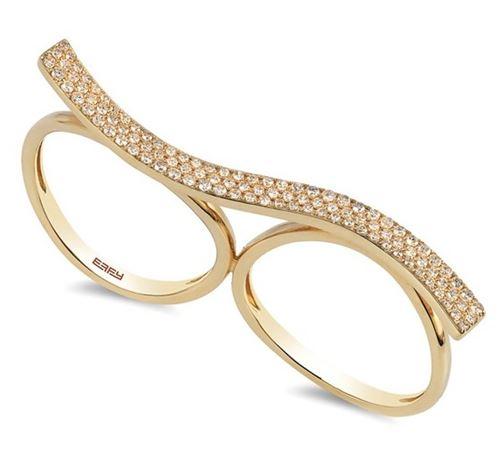 кольцо двойное на два пальца из желтого золота с бриллиантами