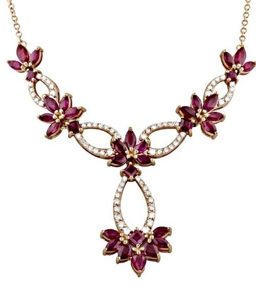 цветочное колье с бриллиантами и рубинами