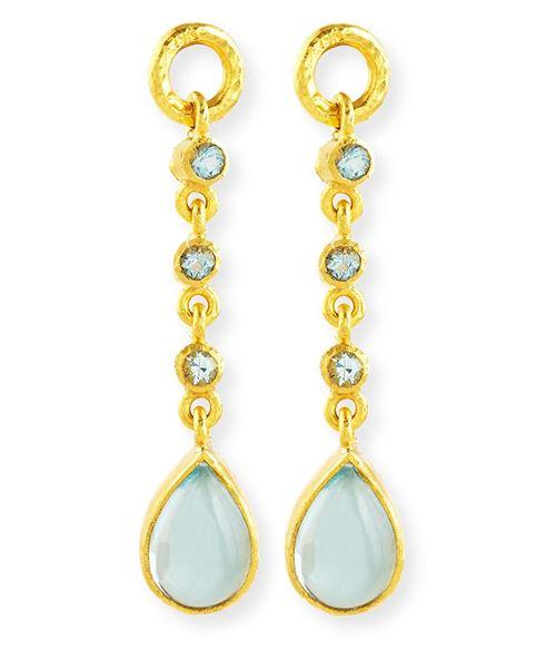 серьги-подвески длинные золотые с зелеными камнями