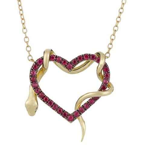 подвеска сердечко с золотой змейкой