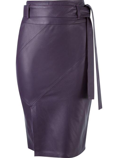 фиолетовая юбка из кожи 2016